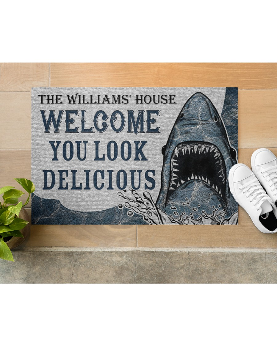 Personalized Custom Name Welcome You Look Delicious Shark Doormat 3