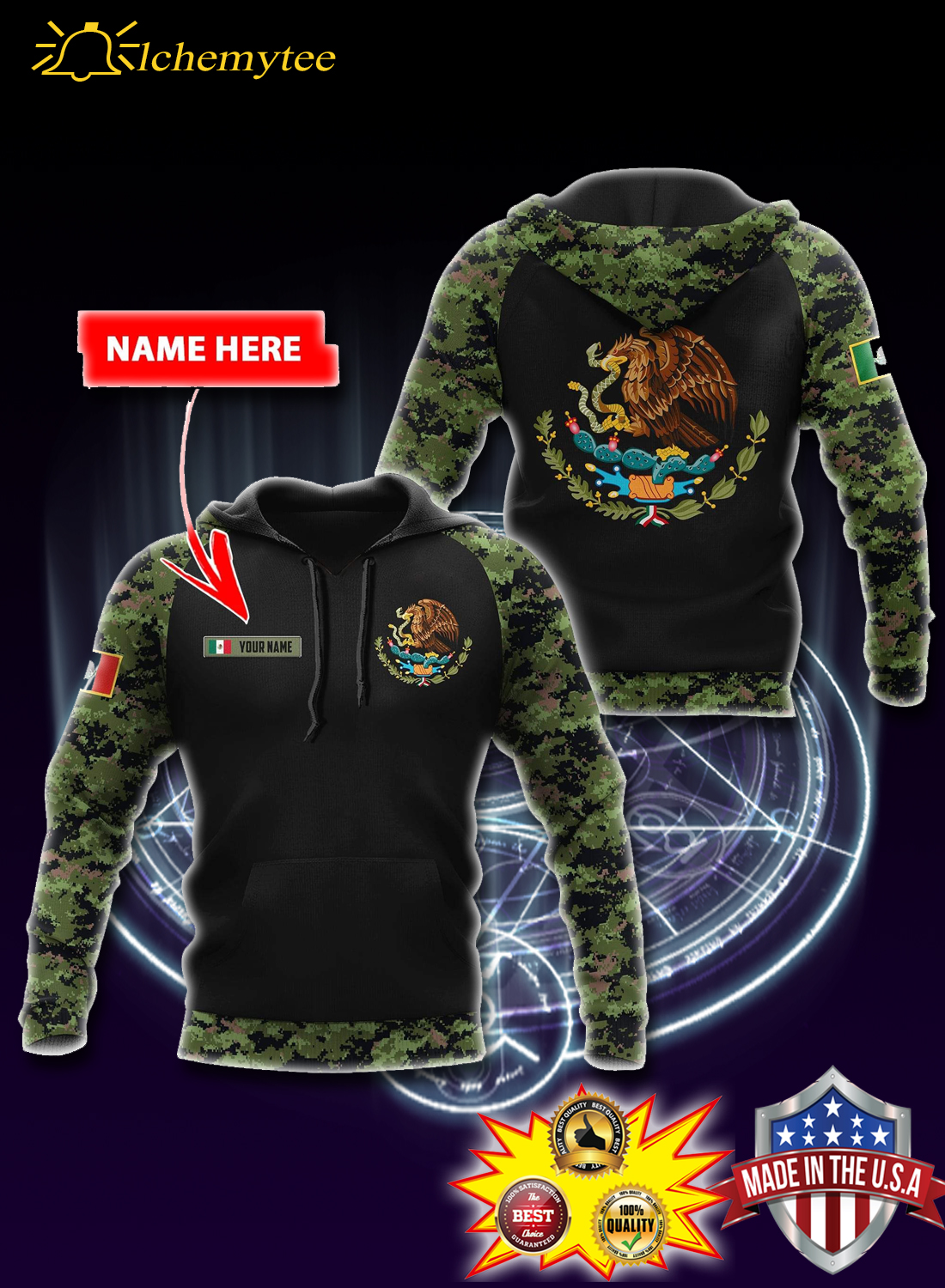Personalized Custom name mexico coat of arms 3d all over printed hoodie