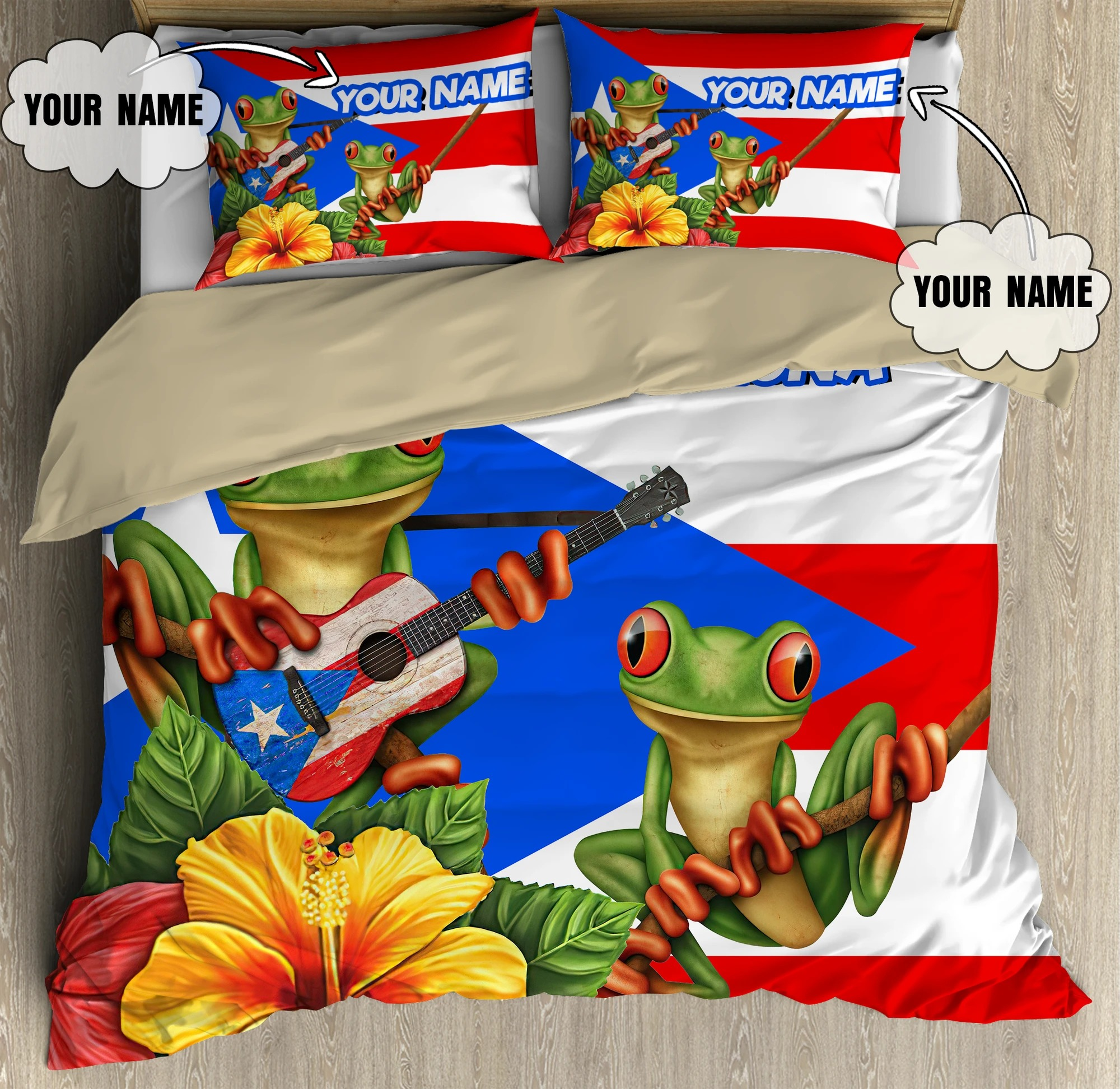 Personalized Customize Name Coqui Puerto Rico Bedding Set 2