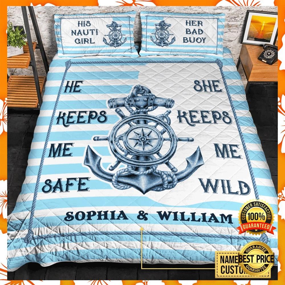 Personalized Fisherman he keeps me safe she keep me wild bedding set2