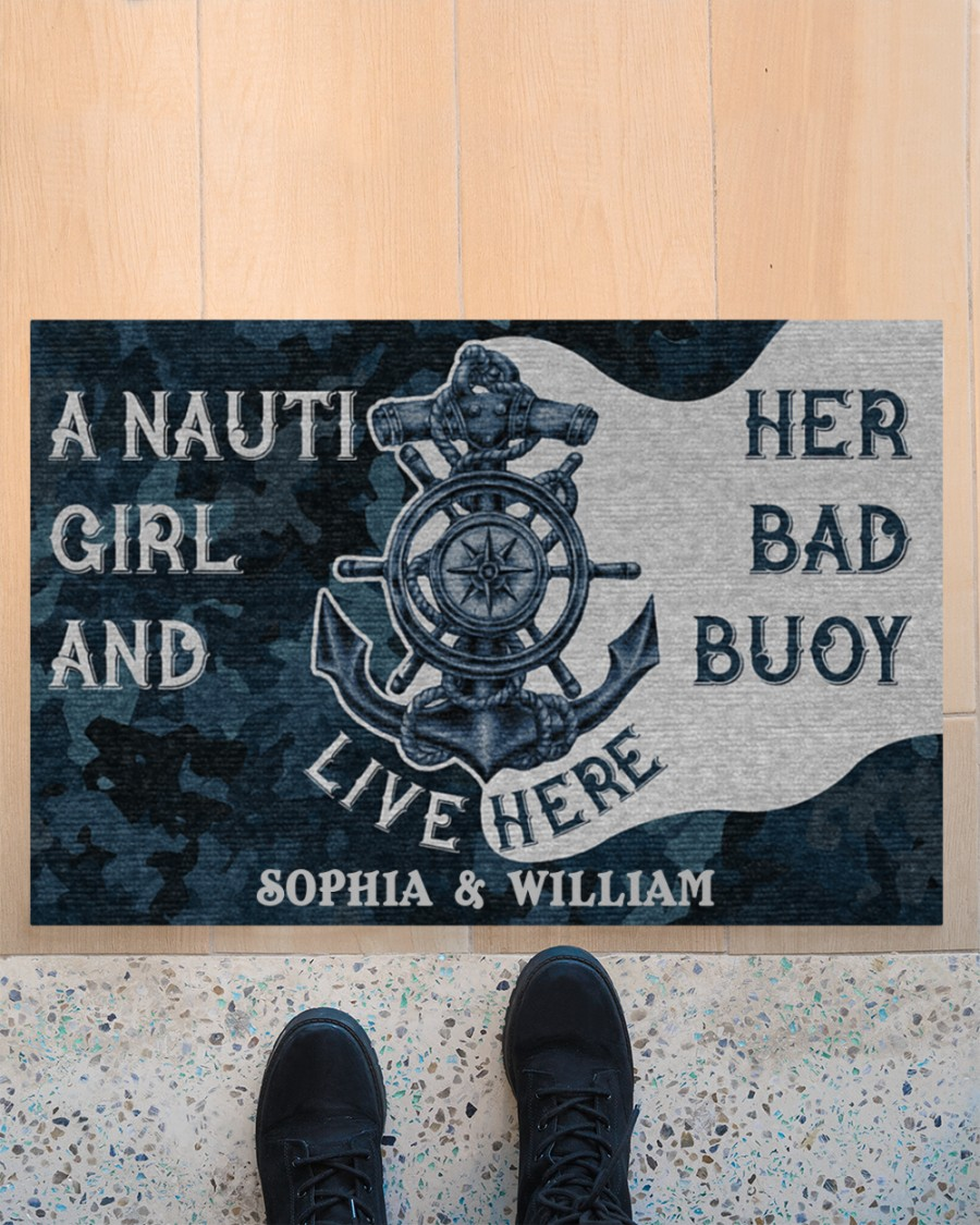 Personalized Sailor Nauti Girl And Her Bad Buoy Live Here Doormat 3