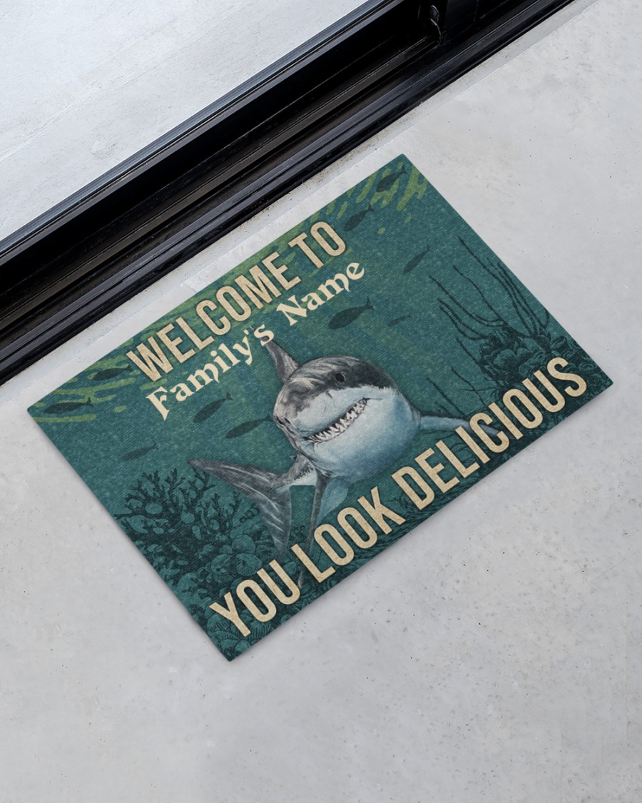 Personalized Shark Welcome You Look Delicious Doormat 1