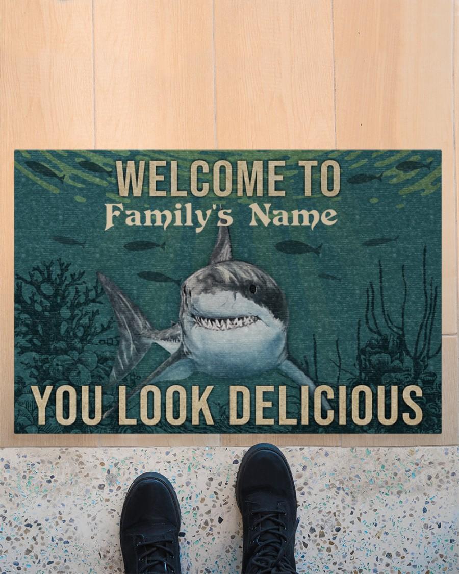 Personalized Shark Welcome You Look Delicious Doormat 2