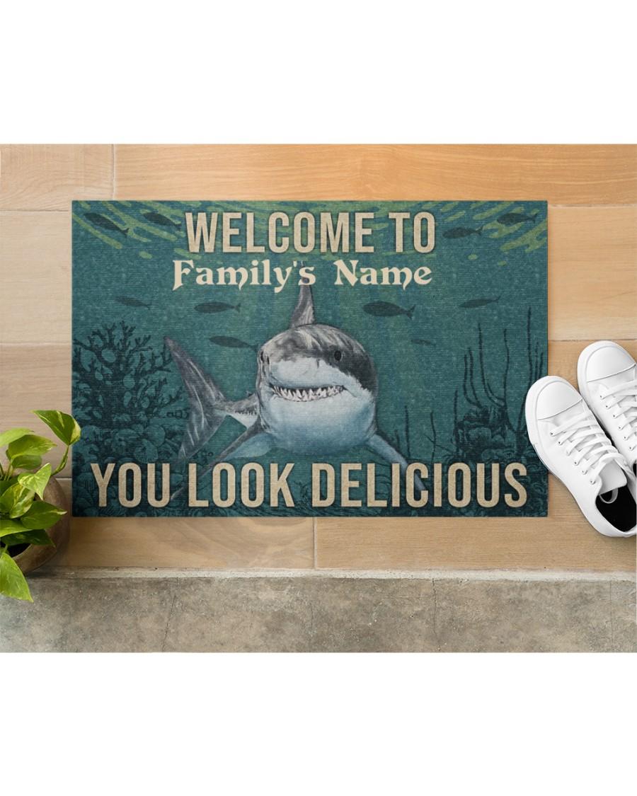 Personalized Shark Welcome You Look Delicious Doormat 3