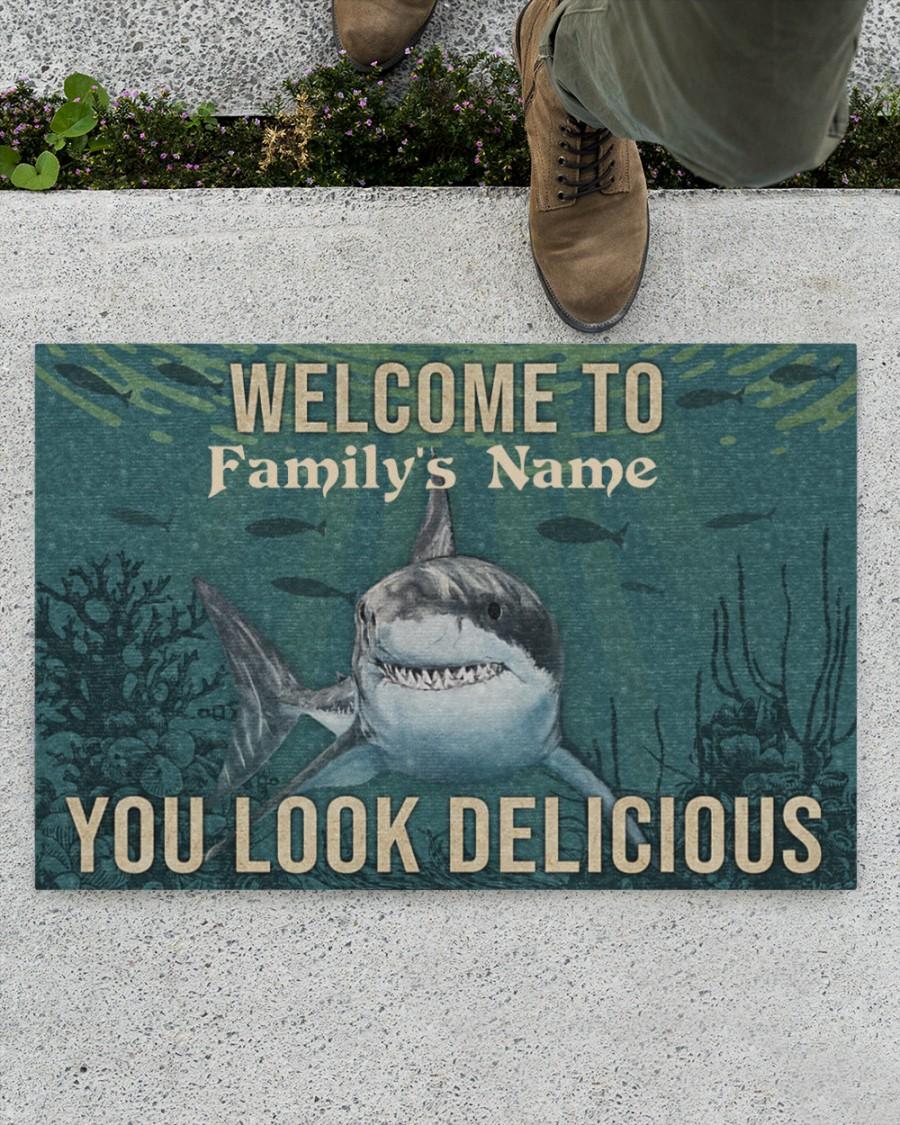 Personalized Shark Welcome You Look Delicious Doormat