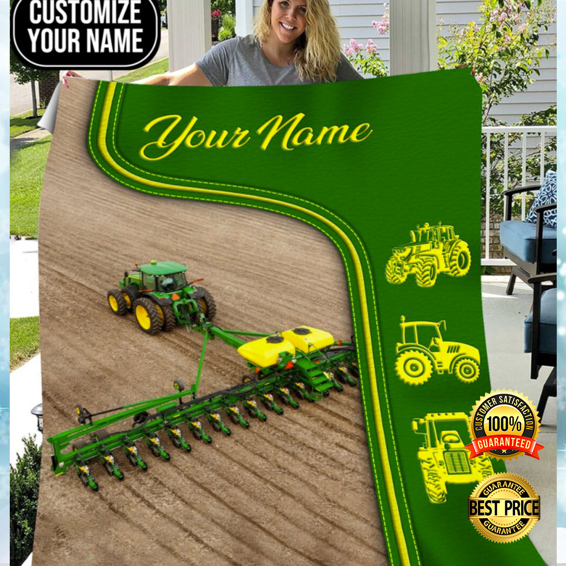 Personalized green tractor farmer blanket 4