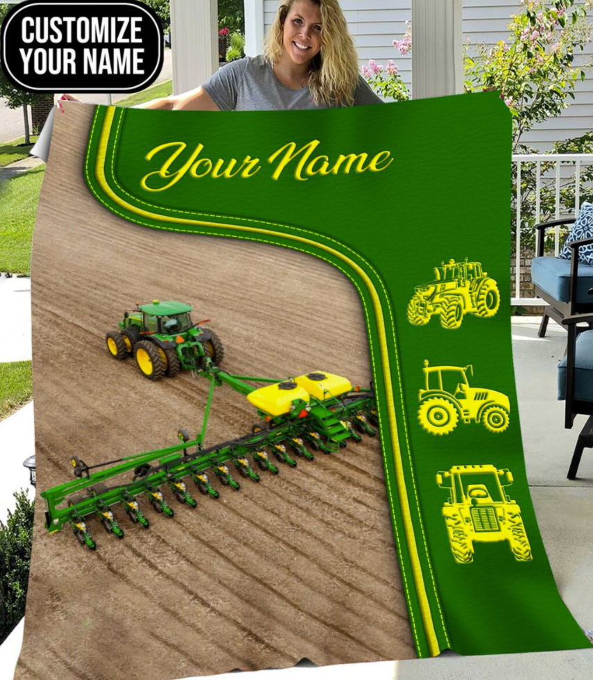 Personalized green tractor farmer blanket