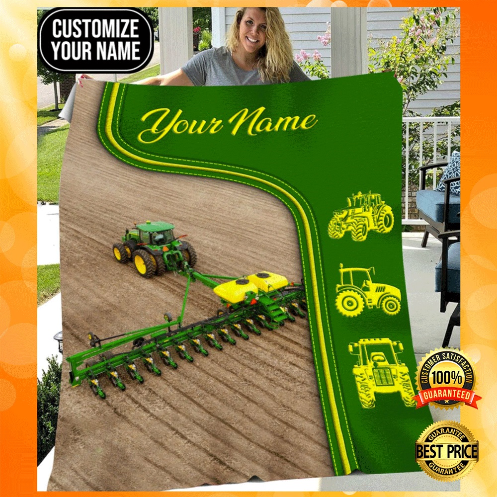Personalized green tractor farmer blanket1