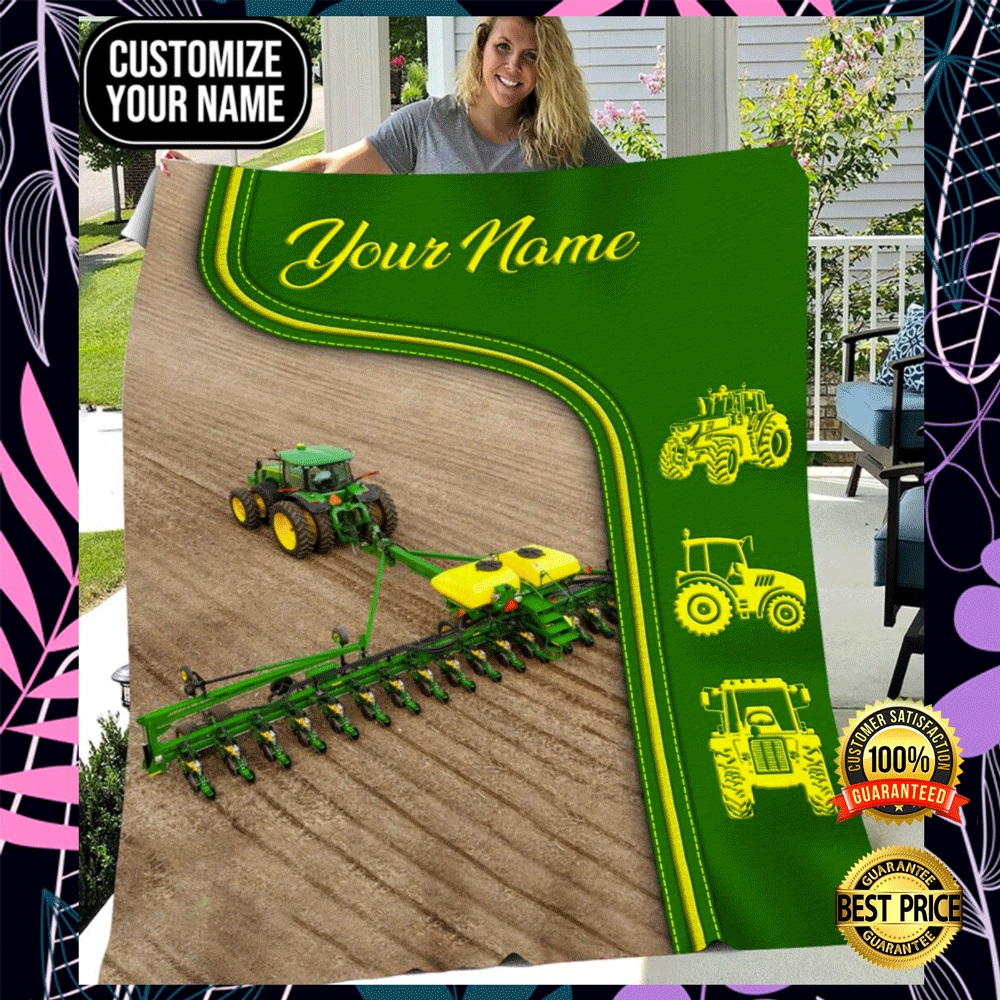 Personalized green tractor farmer blanket2
