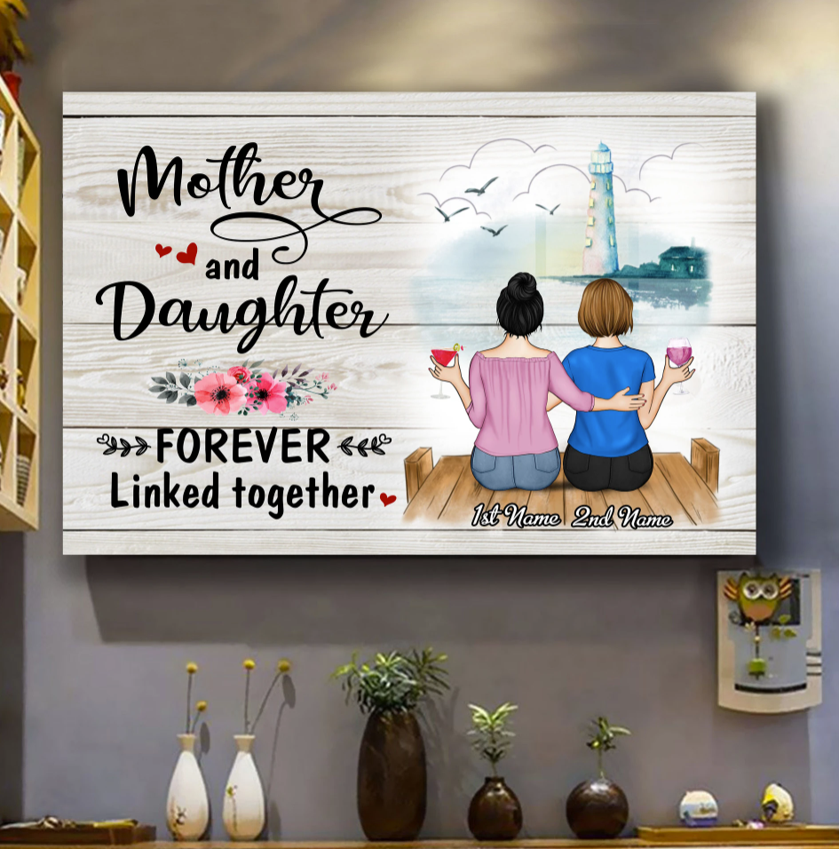 Personalized mother and daughter forever linked together canvas