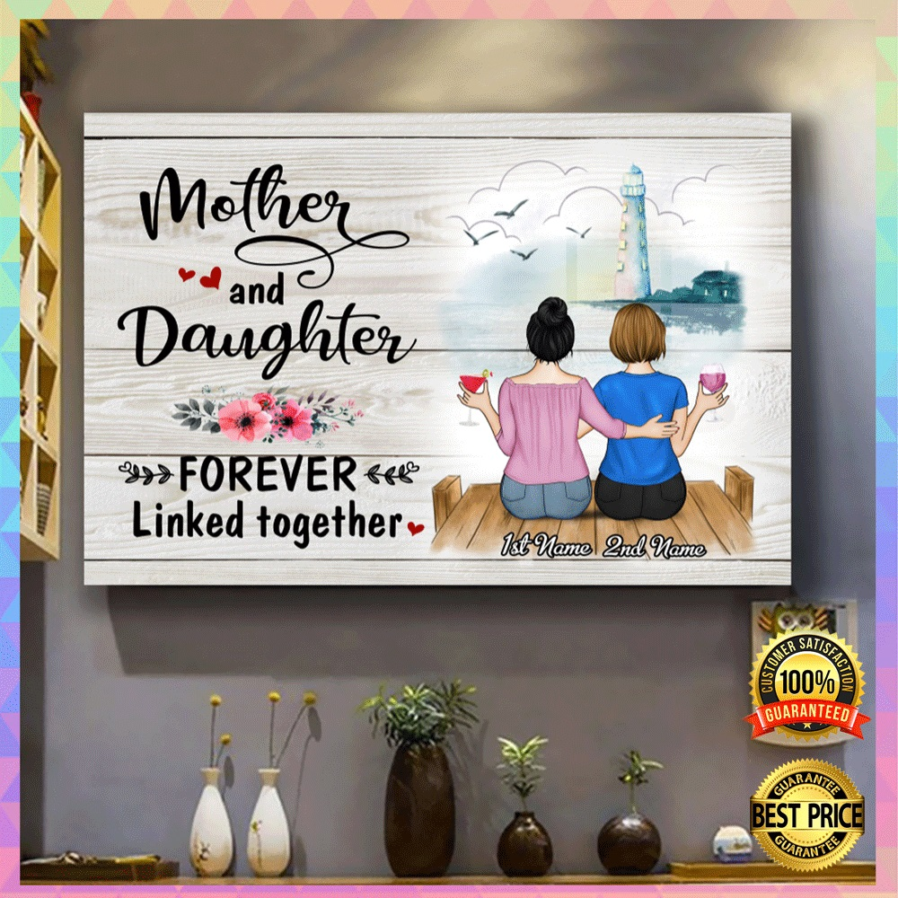 Personalized mother and daughter forever linked together canvas1