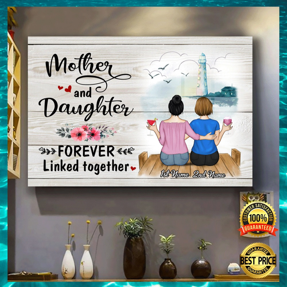 Personalized mother and daughter forever linked together canvas2