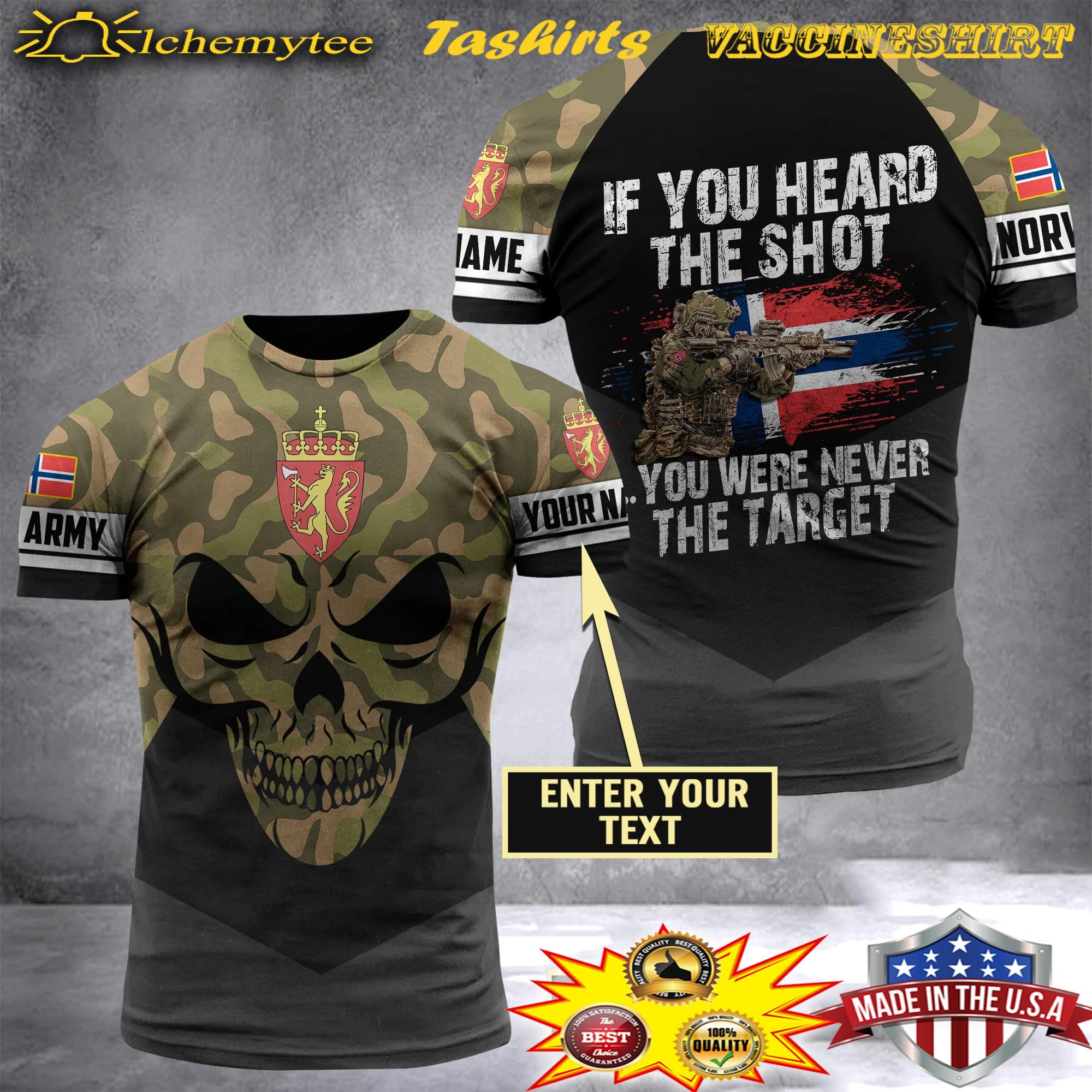 Personalized name norwegian army If you heard the shot 3d shirt