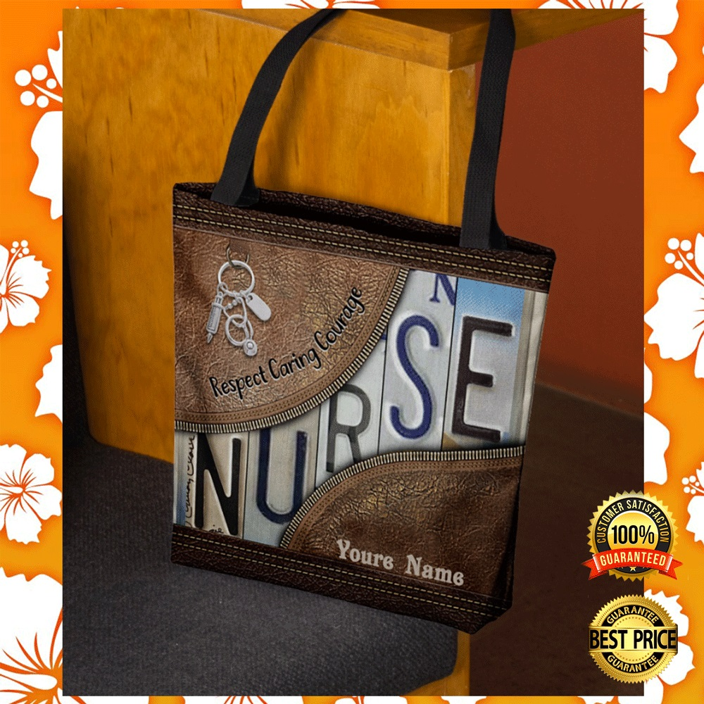 Personalized nurse respect caring courage tote bag1