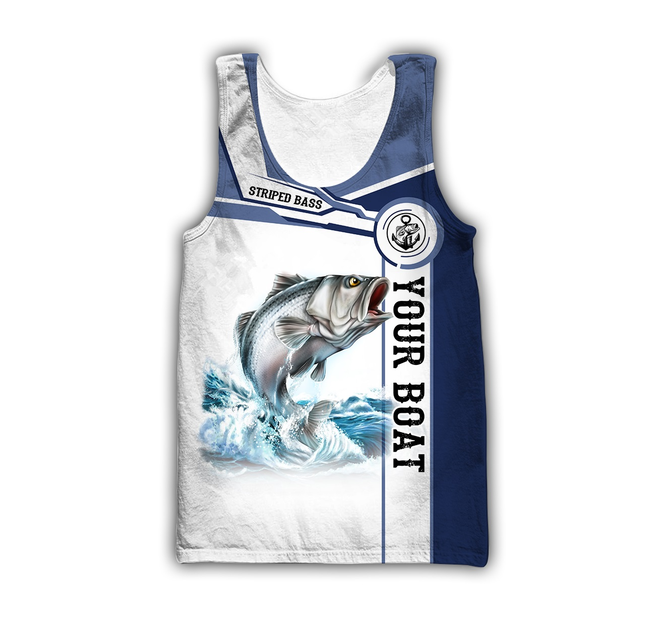 Personalized striped bass fishing catch and release 3d tank top