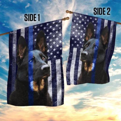 Police Dog thin blue line flag