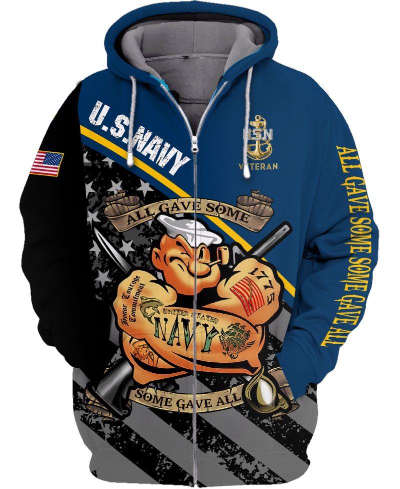 Popeye Navy veteran all gave some 3d zip hoodie