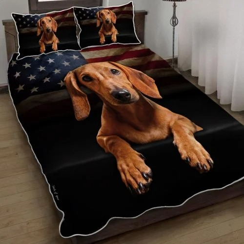 Red Dachshund American flag quilt bed set Picture 1