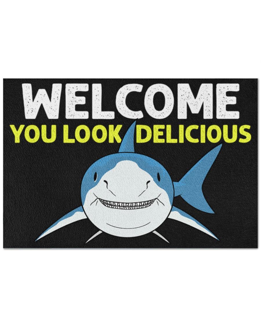 Shark welcome you look delicious doormat 1