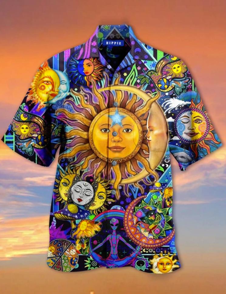 Sun and moon hippie hawaiian shirt