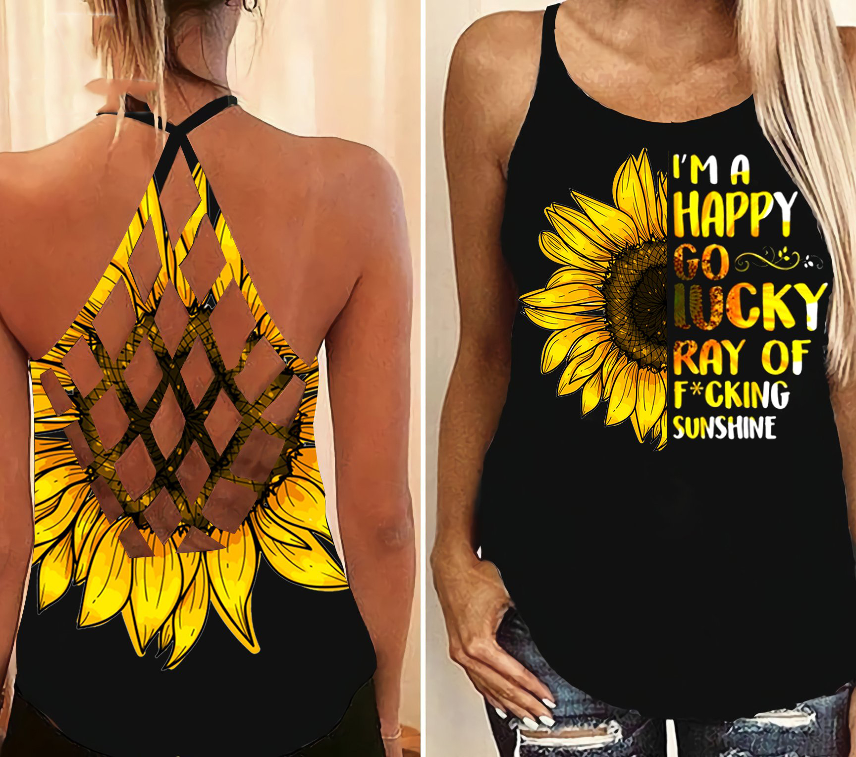 Sunflower Im a happy go lucky ray of fucking criss cross open back camisole tank top