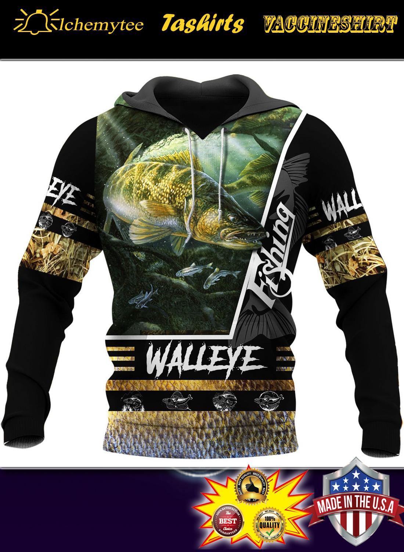 Walleye fishing 3d all over printed hoodie