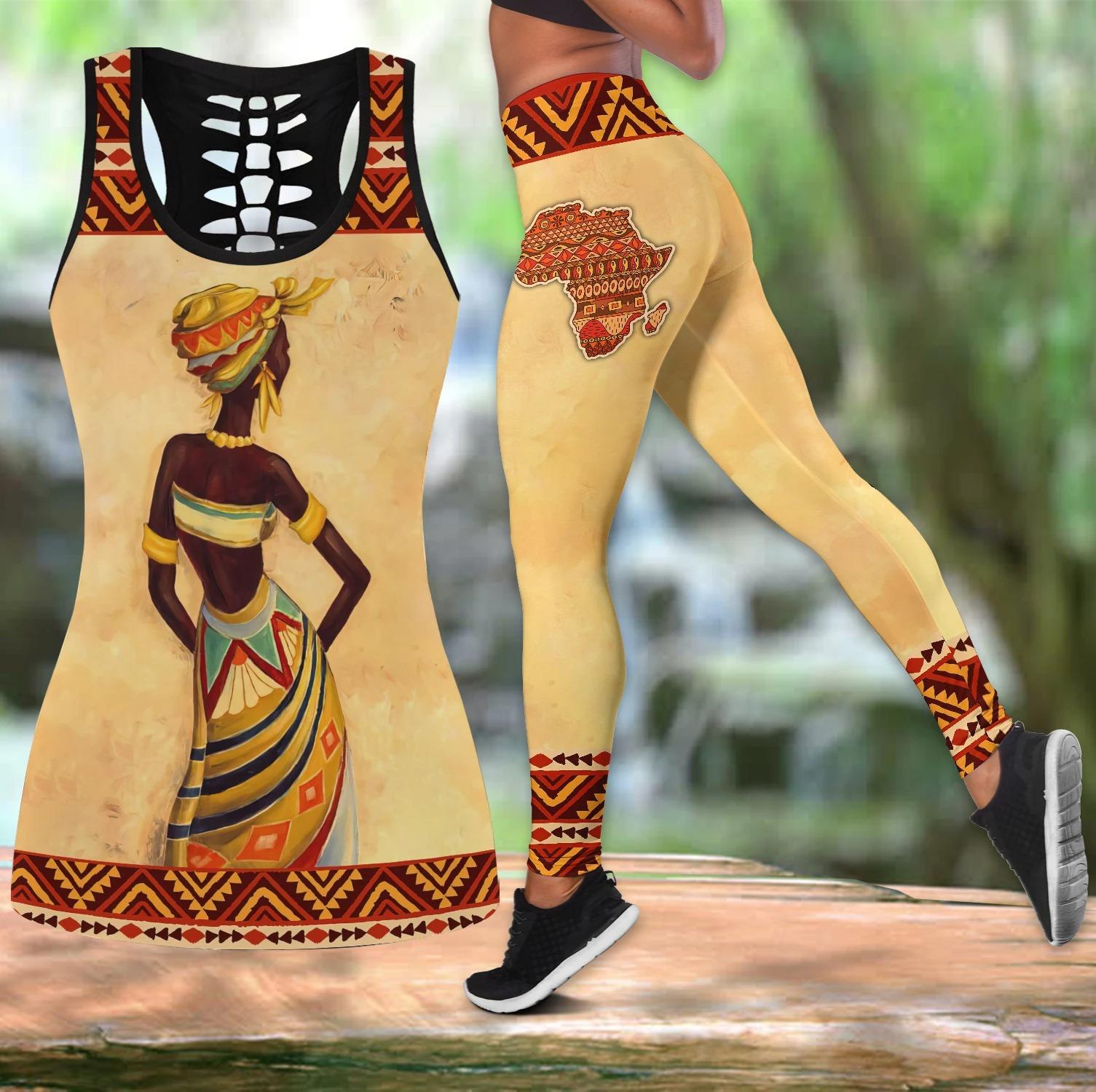African Women hollow tank top and leggings