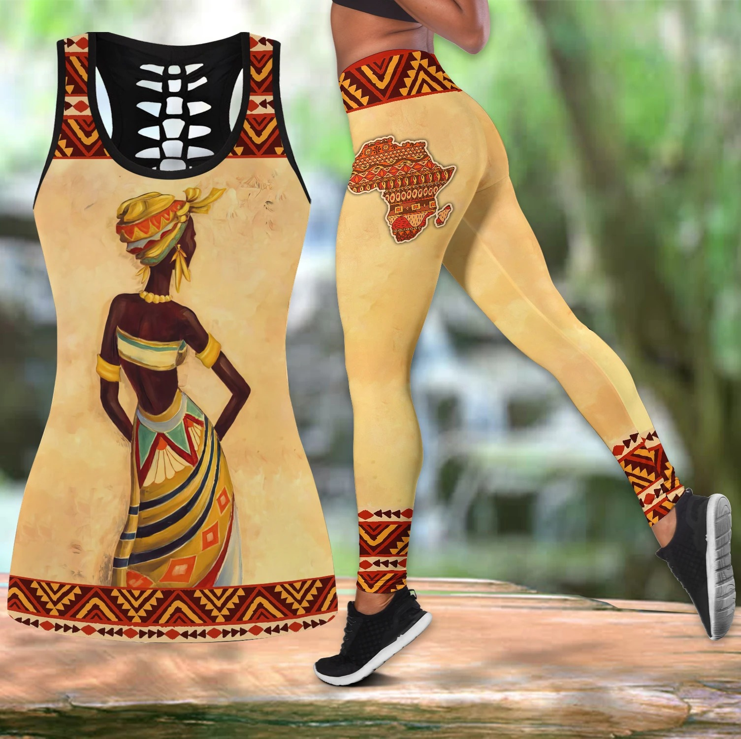 African women legging and hollow tank top