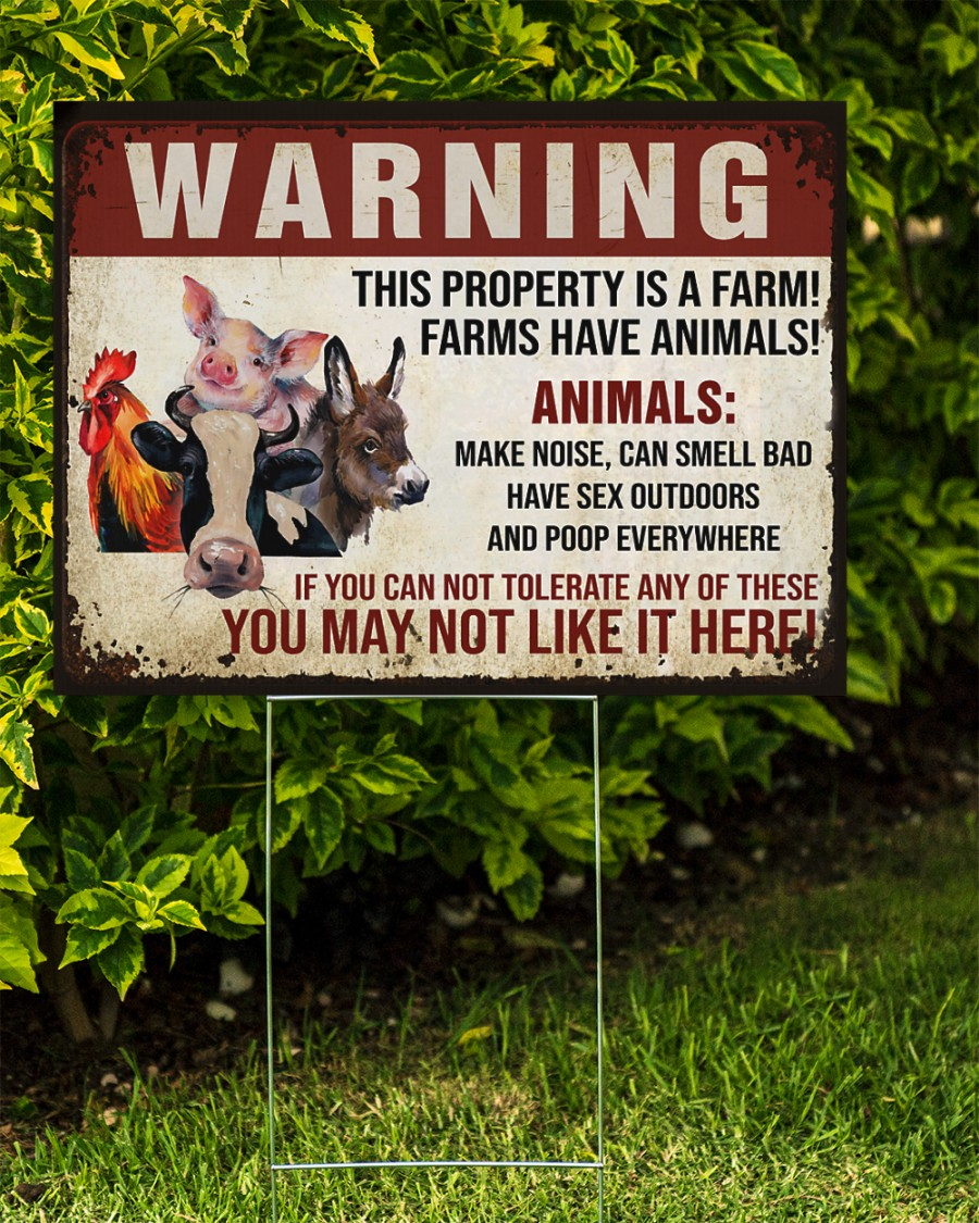 Animals Warninng this property is a farm yard signs Picture 1