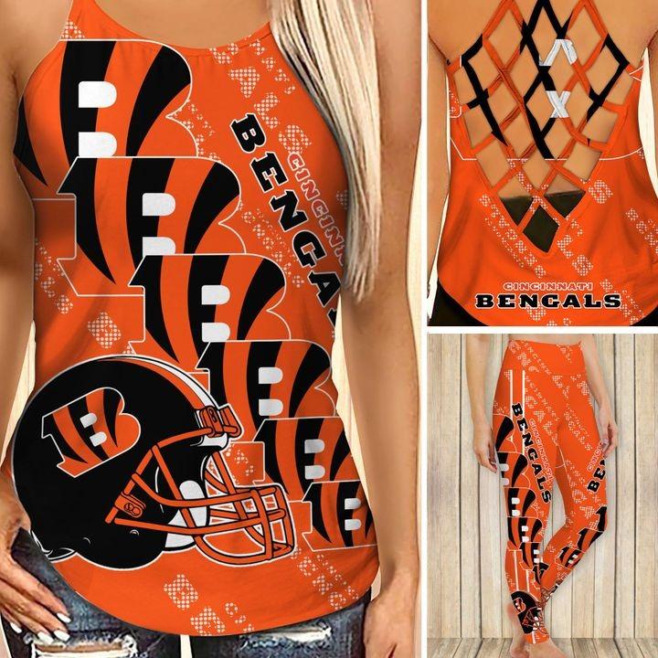 Cincinnati bengals criss cross tank top and leggings