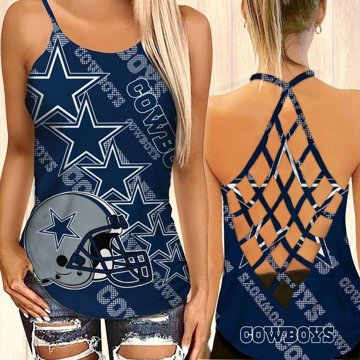 Dallas cowboys criss cross tank top and leggings 1