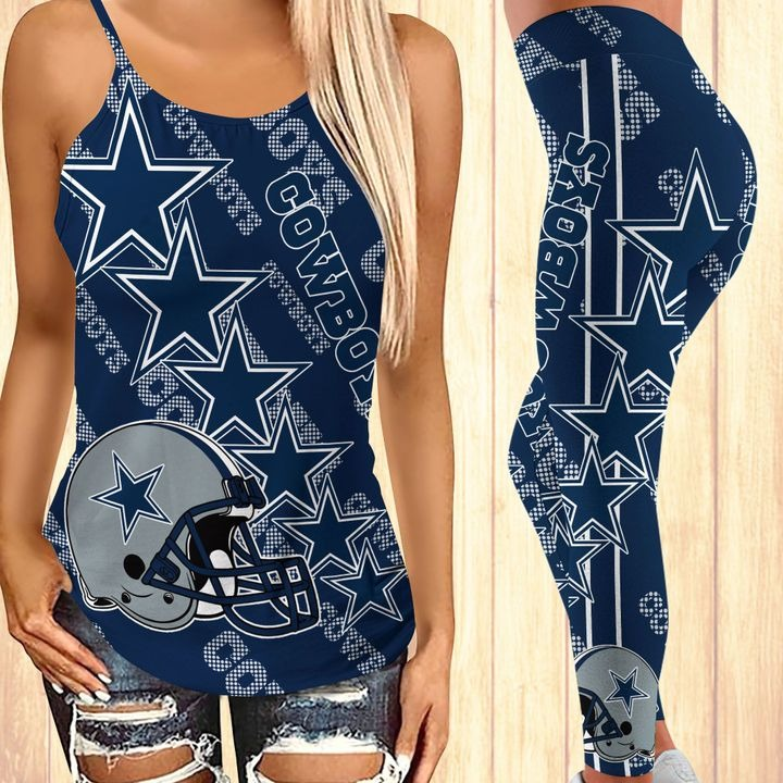 Dallas cowboys criss cross tank top and leggings 2