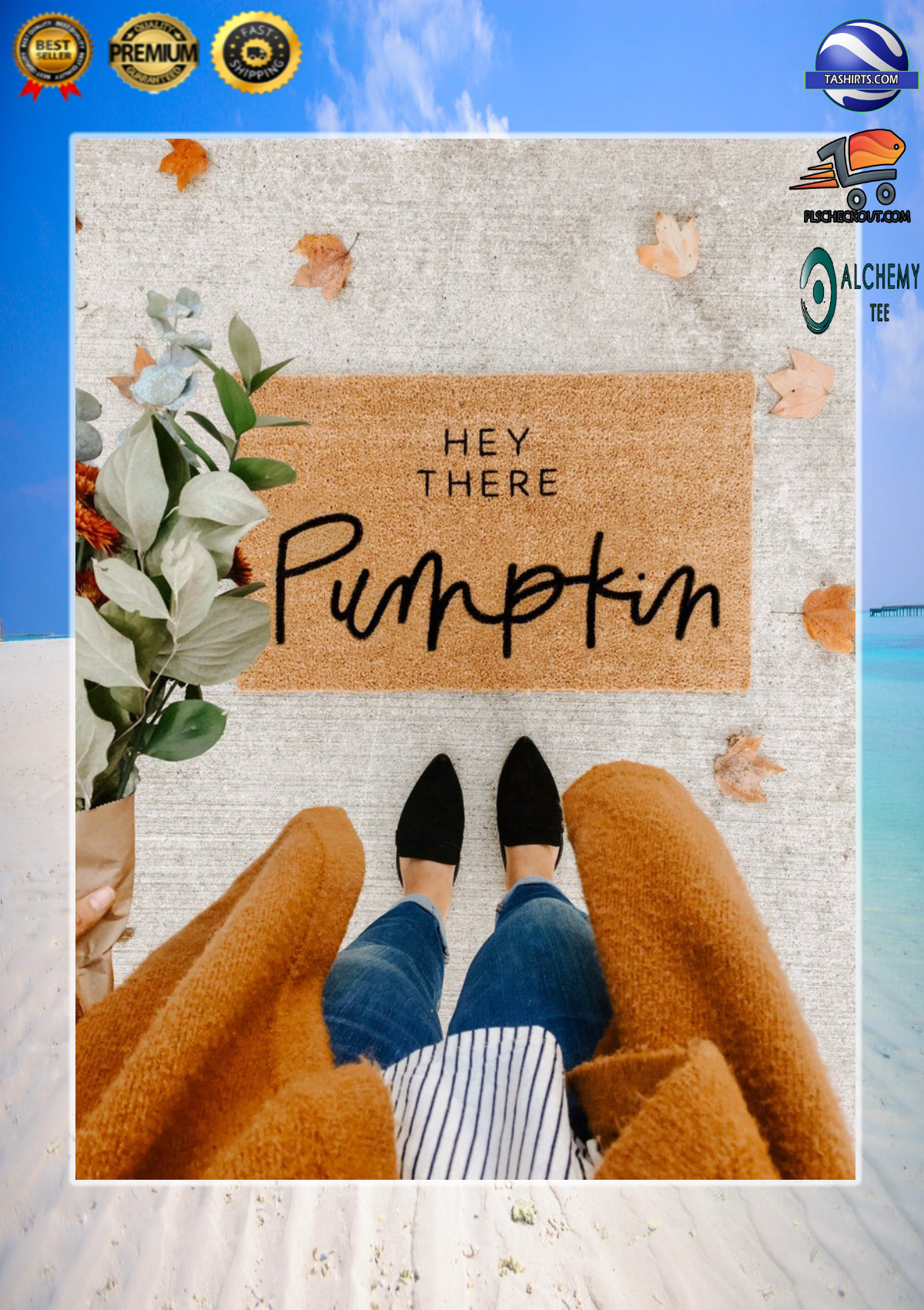 Hey there pumpkin doormat 3