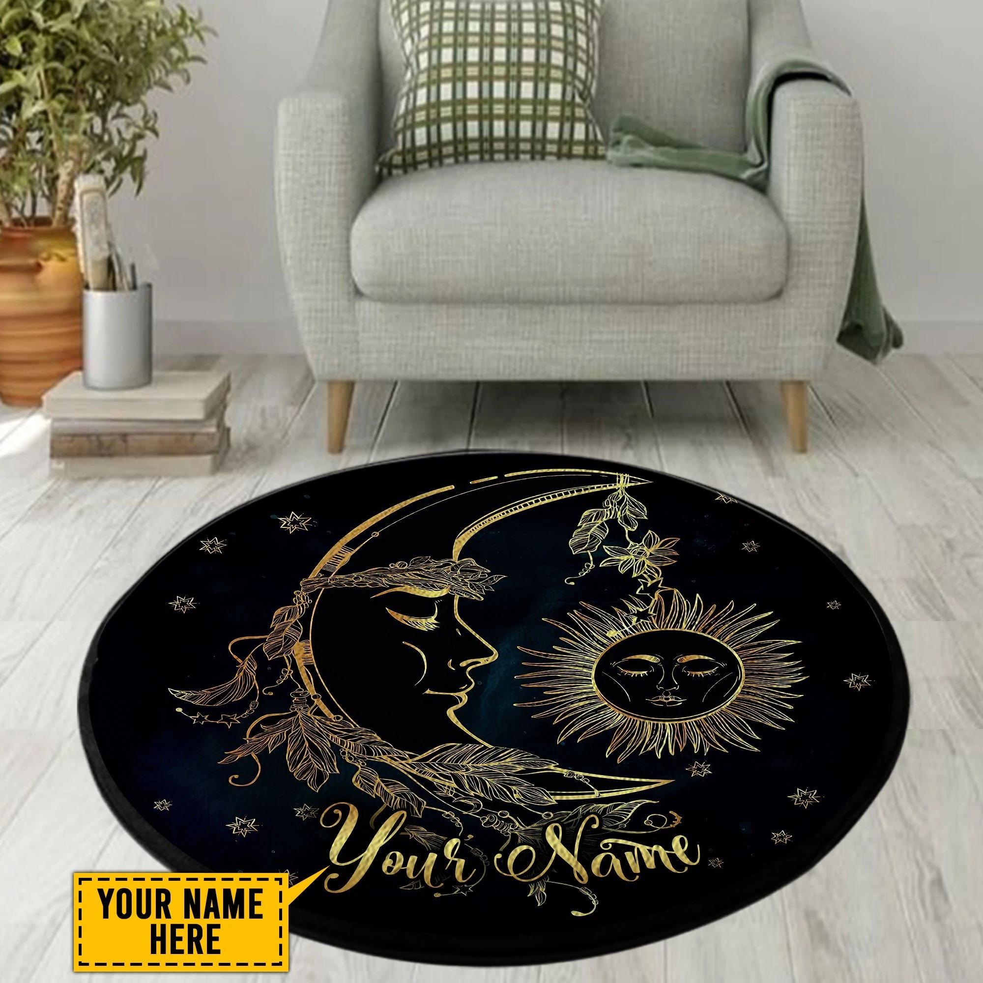 Hippie sun moon custom name round rug
