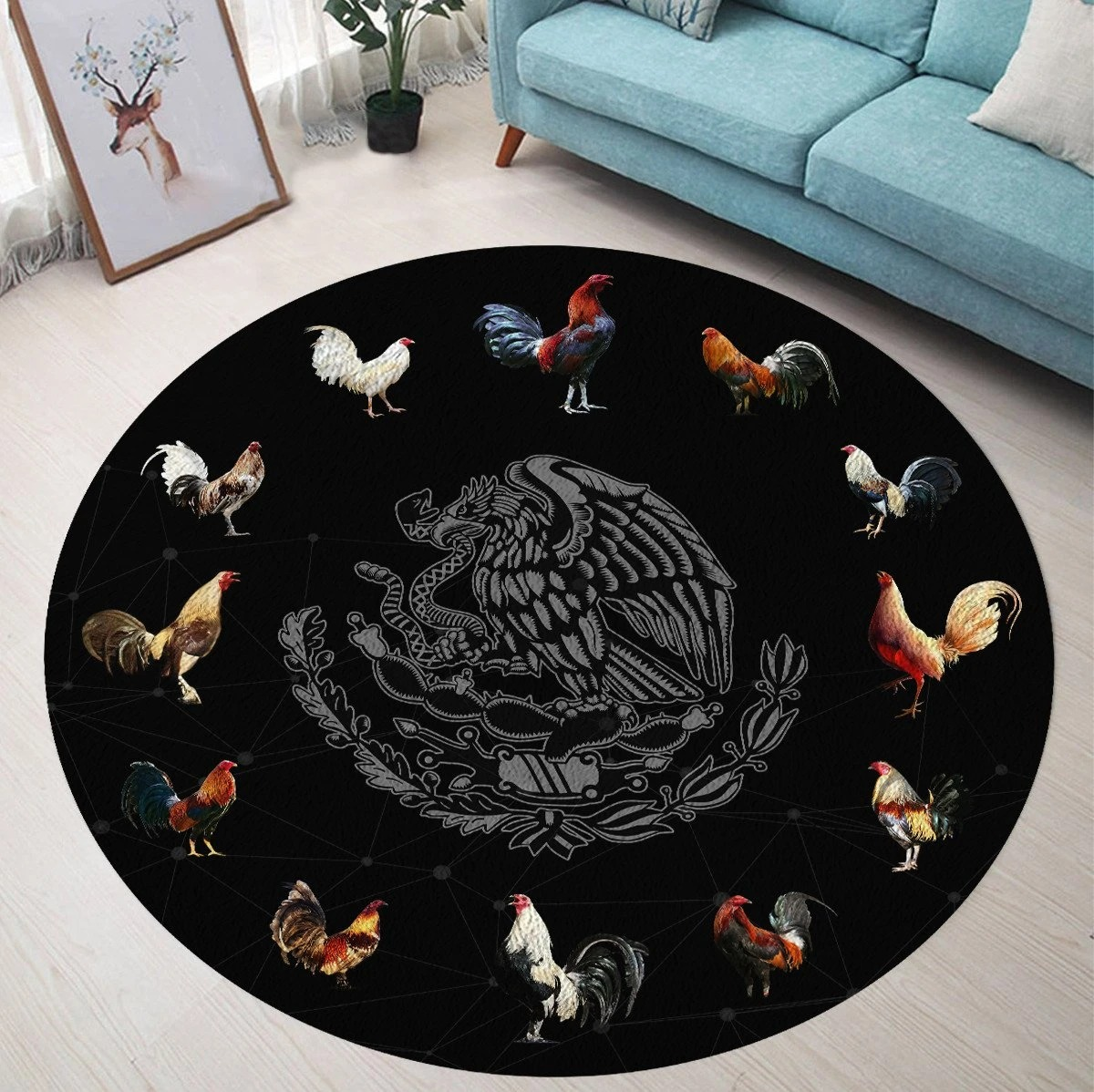 Mexican Roosters Round Rug