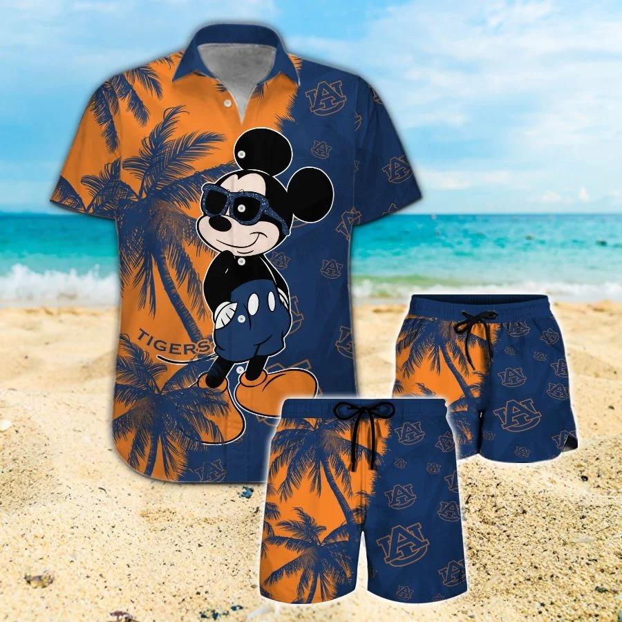 Mickey Mouse Auburn Tigers hawaiian shirt and beach short