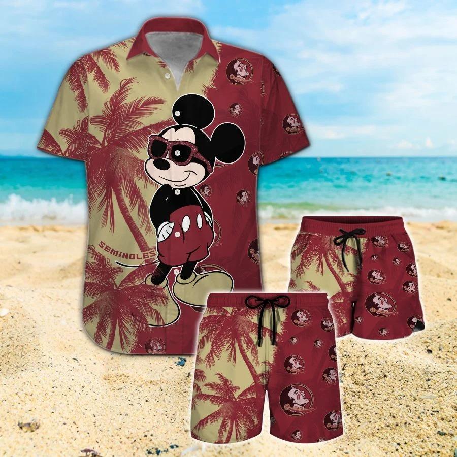 Mickey Mouse Florida State Seminoles hawaiian shirt and beach short