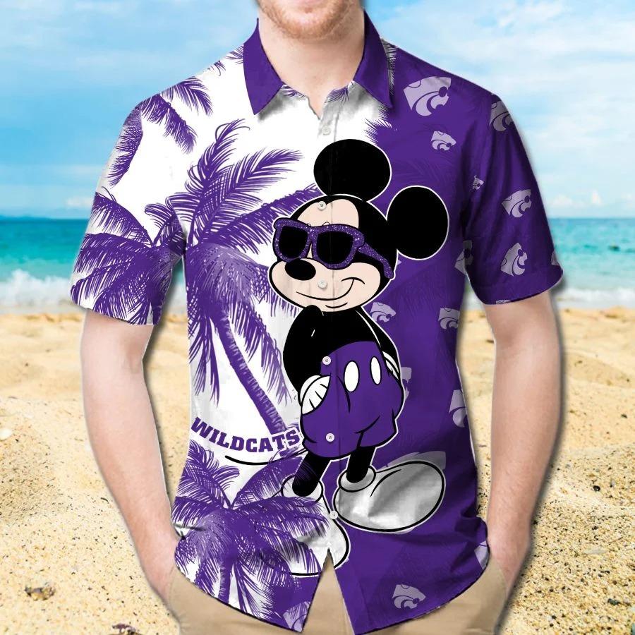 Mickey Mouse Kansas State Wildcats hawaiian shirt and beach short 1