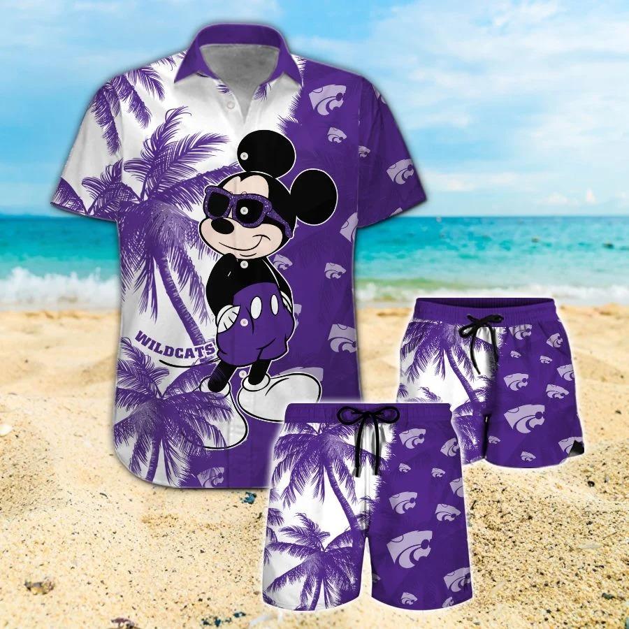 Mickey Mouse Kansas State Wildcats hawaiian shirt and beach short