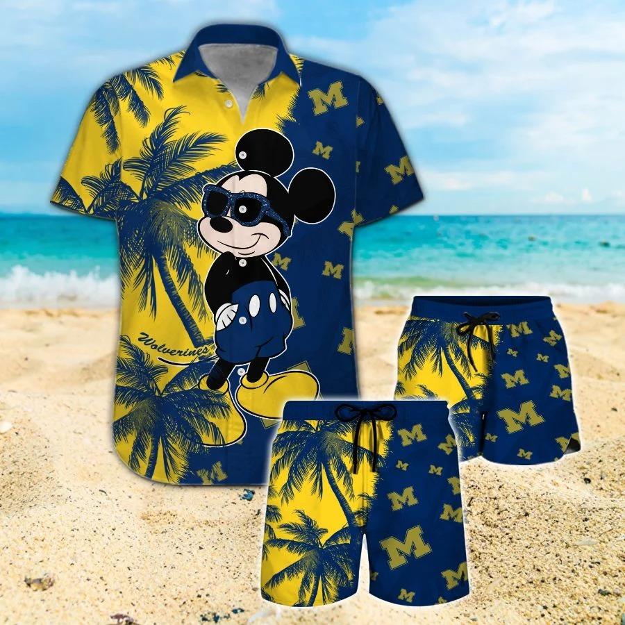 Mickey Mouse Michigan Wolverines hawaiian shirt and beach short