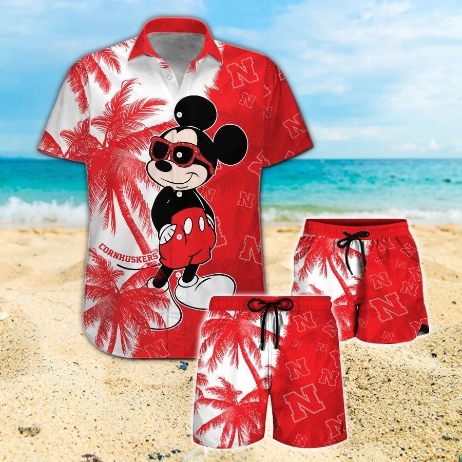 Mickey Mouse Nebraska Cornhuskers hawaiian shirt and beach short