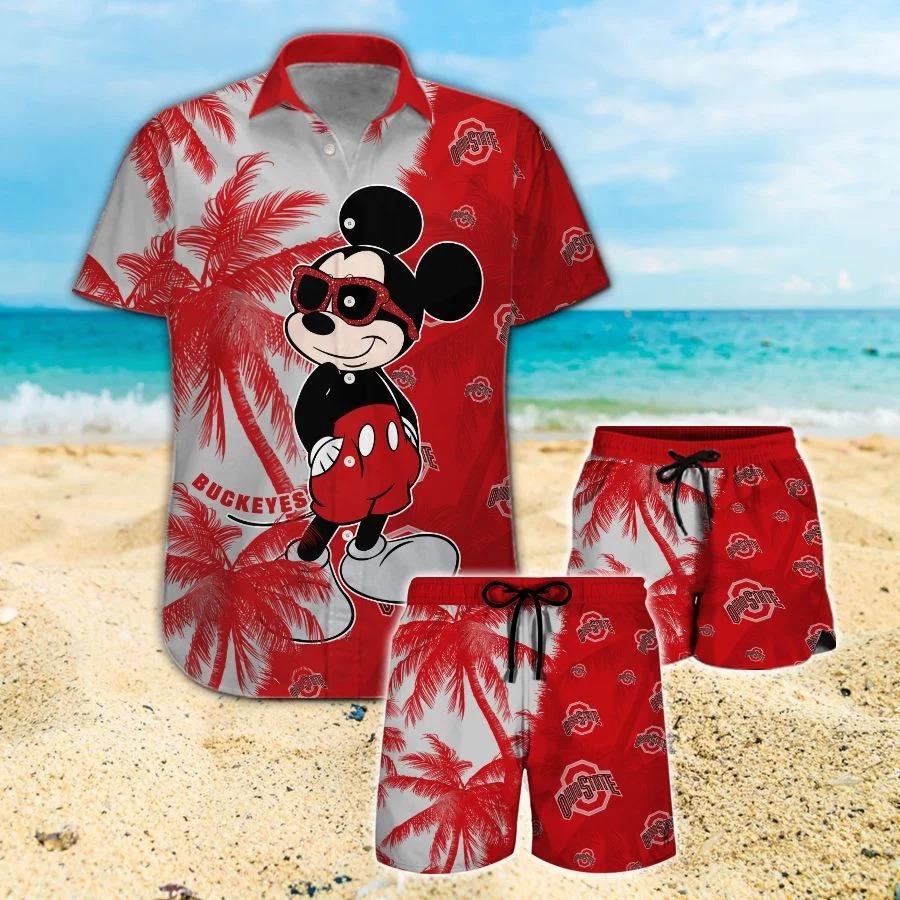Mickey Mouse Ohio State Buckeyes hawaiian shirt and beach short