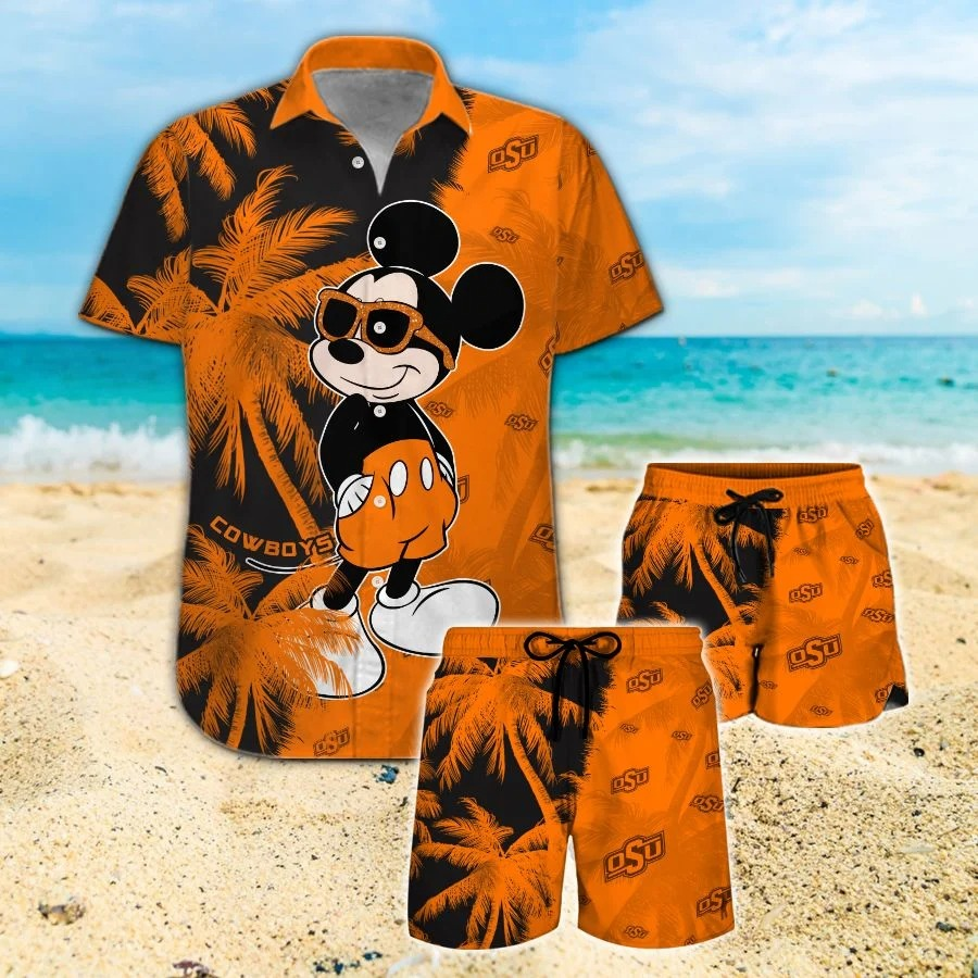 Mickey Mouse Oklahoma State Cowboys hawaiian shirt and beach short