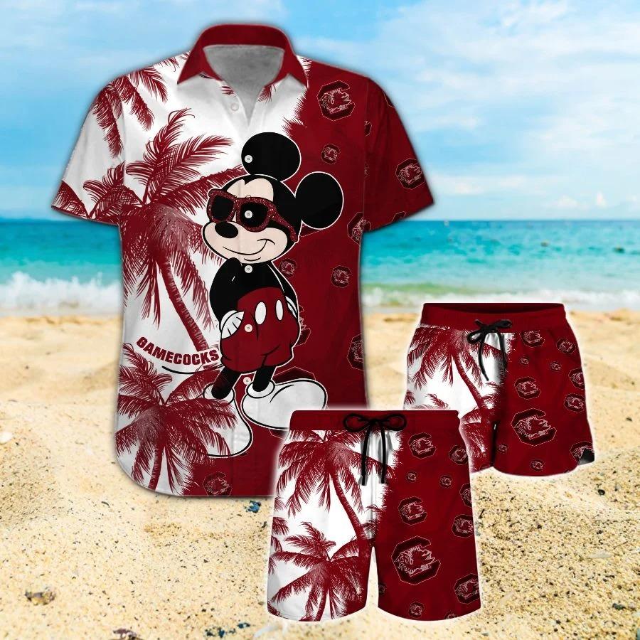 Mickey Mouse South Carolina Gamecocks hawaiian shirt and beach short