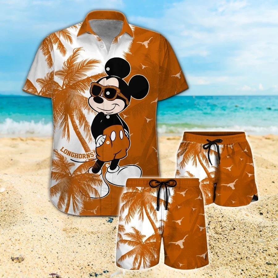Mickey Mouse Texas Longhorns hawaiian shirt and beach short