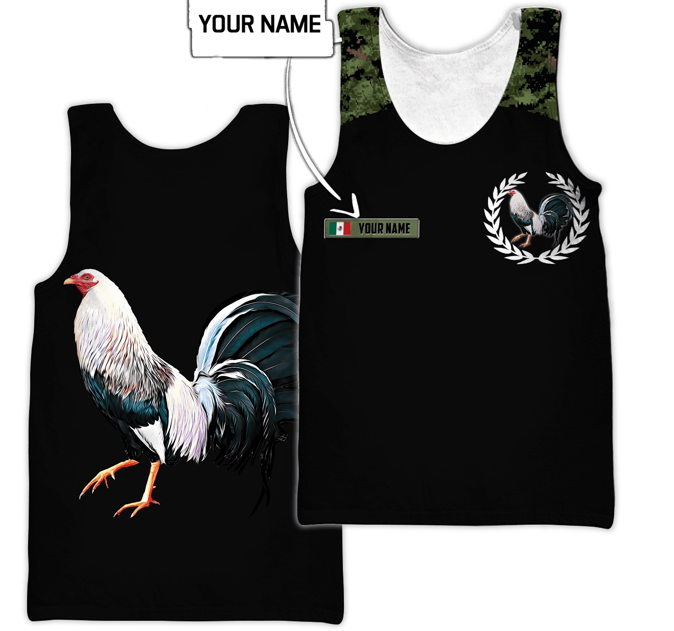 Personalized Mexican rooster camo 3d all over printed tank top