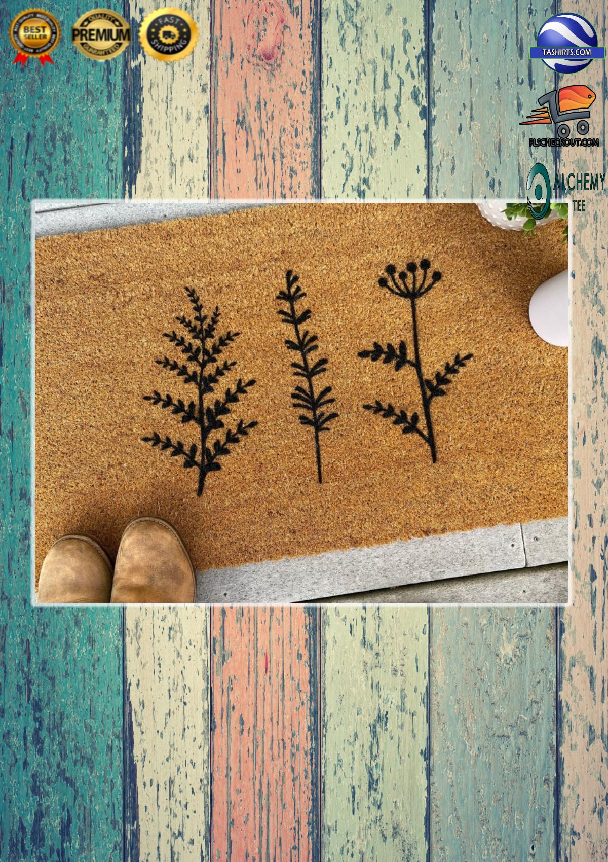 Plant Floral Trio Coir Doormat 1