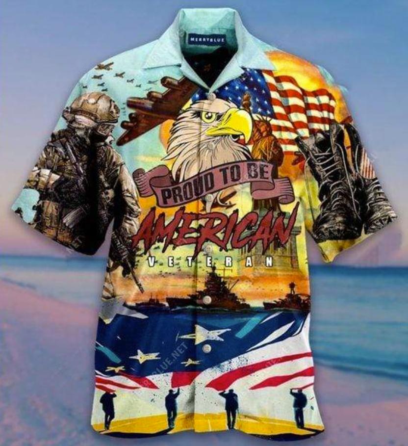 Proud to be American veteran hawaiian shirt