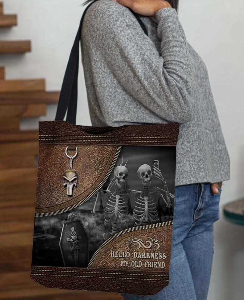 Skeleton hello darkness my old friend tote bag 1