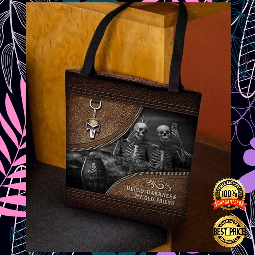Skeleton hello darkness my old friend tote bag2